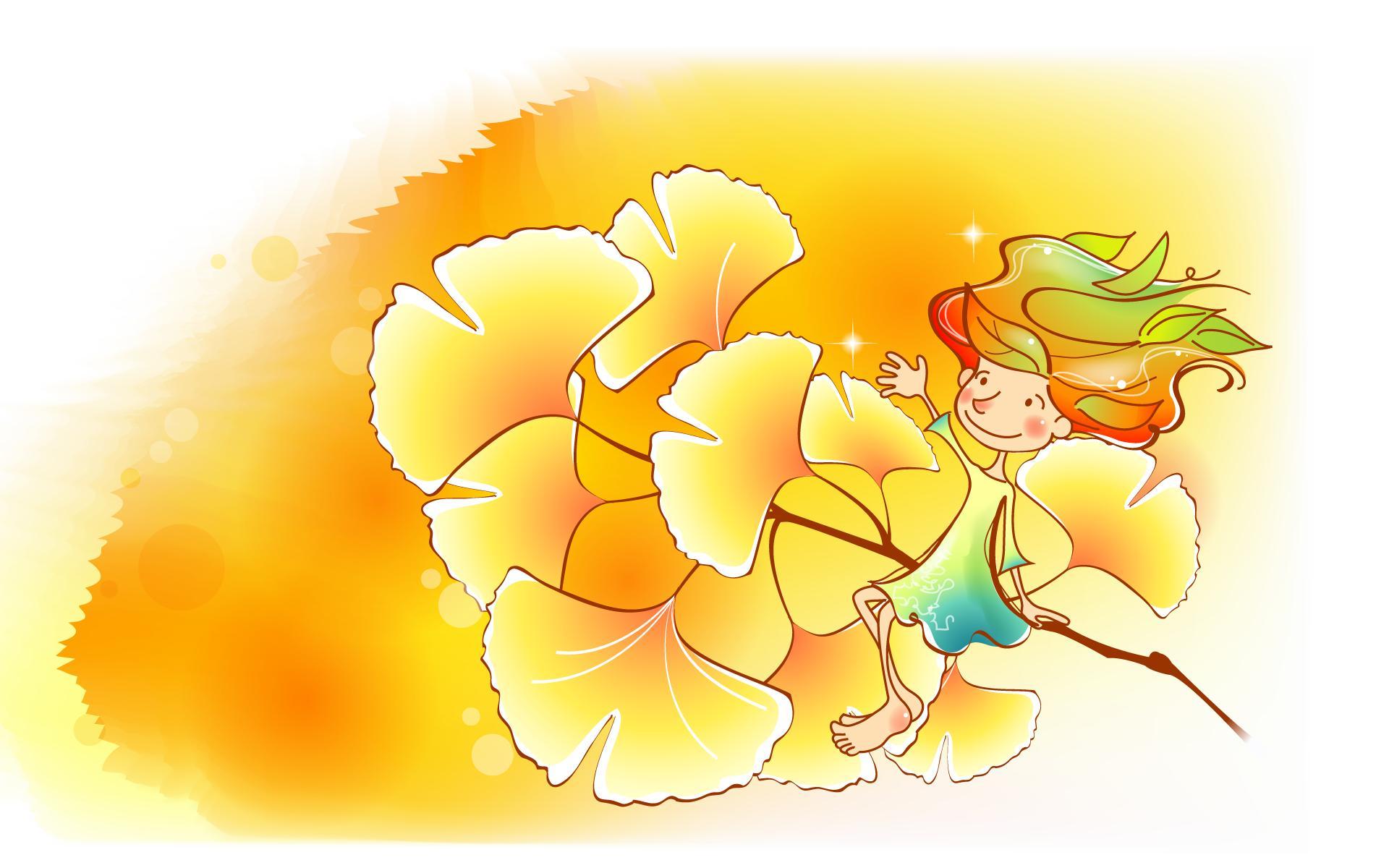 秋天的童话 橙色卡通宽屏壁纸